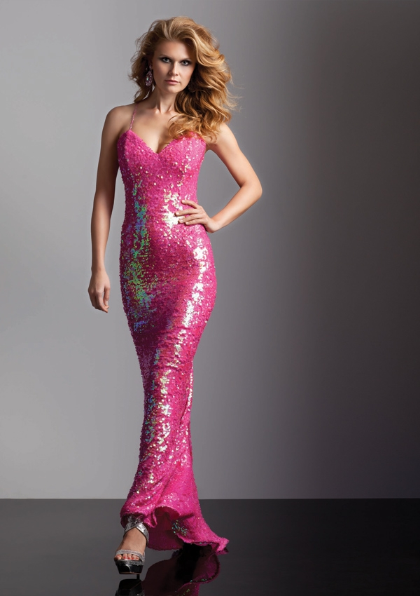 Style 93206 All Over Iridescent Beading on Stretch Net | Dream Gowns