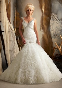 Style 1902 Crystal Beaded Embroidery on Alencon Lace with Ruffled Tulle